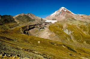 Gergeti-Gletscher, Kasbek, Stepantsminda im Kaukasus, Georgien